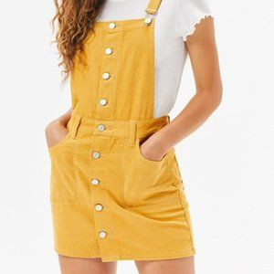 PacSun Yellow Corduroy Overall Button-Down Dress